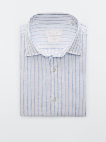 Вталена раирана риза от 100% лен