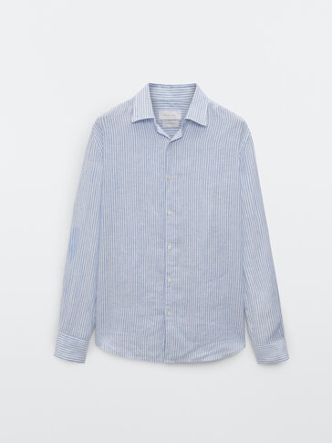 Chemise à rayures en pur lin coupe slim