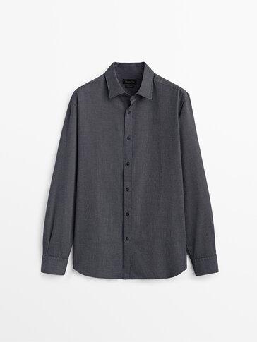 Chemise à micro-carreaux en coton coupe slim