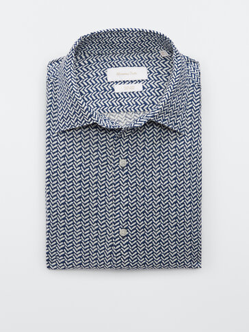 Slim-Fit-Hemd aus reinem Leinen mit Fischgrätmuster