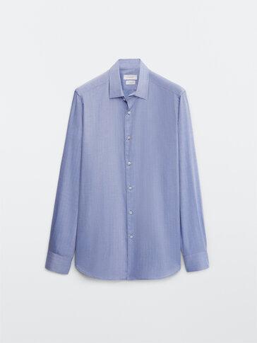 100% cotton herringbone shirt