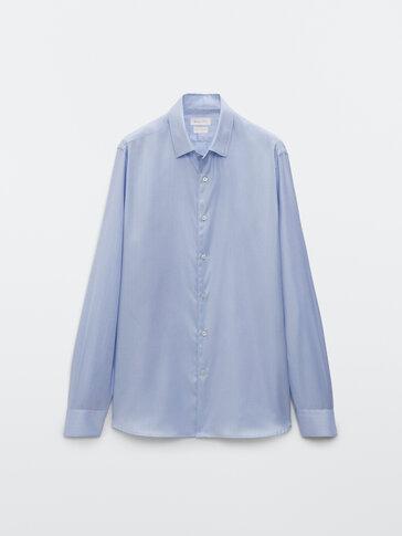 Regular fit cotton herringbone shirt