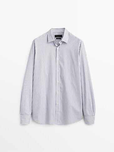 Chemise à rayures en pur coton cintrée