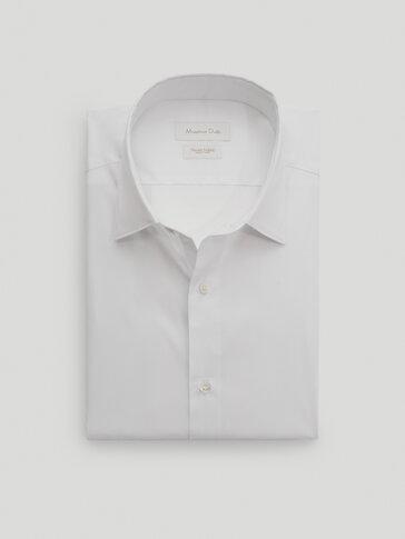 Slim-fit skjorte i cotton med stretch