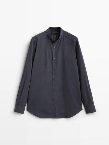 Slim Fit Hemd aus Baumwolle mit Mandarinkragen