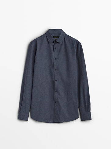 Slim fit houndstooth shirt made of 100% cotton