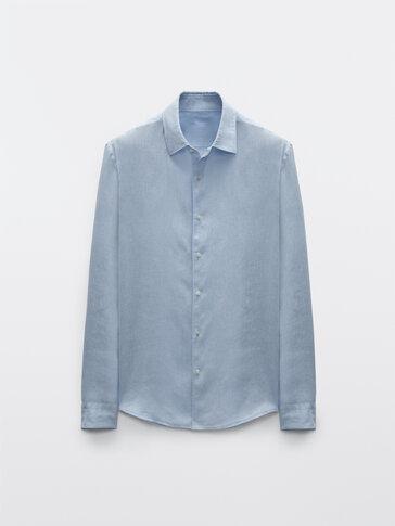 Chemise teintée pur lin coupe slim