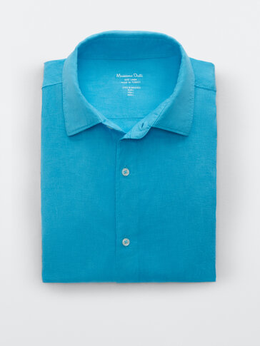 Camisa 100% lino tintado slim fit