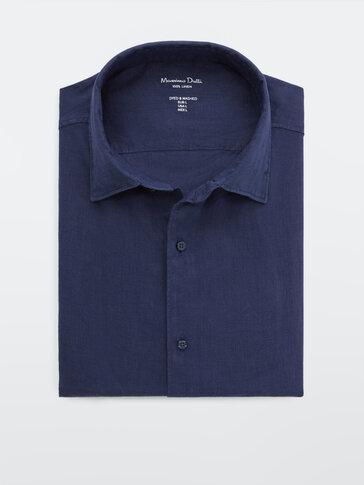 חולצה 100% פשתן צבוע בגזרת Slim fit
