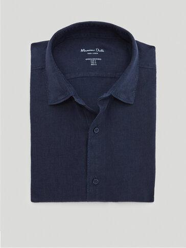Eingefärbtes Slim-Fit-Hemd aus reinem Leinen