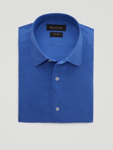 เสื้อเชิ้ตเข้ารูปผ้าลินินย้อมสี 100%