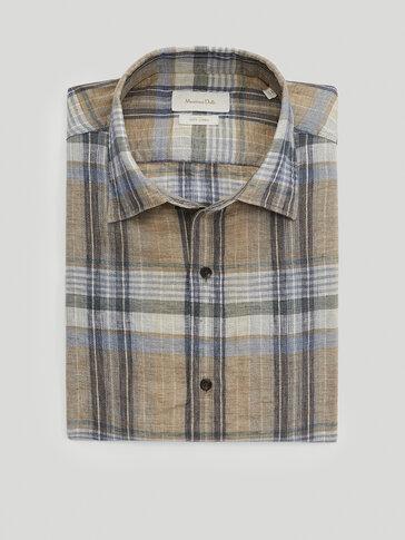 Kariertes Slim-Fit-Hemd aus reinem Leinen