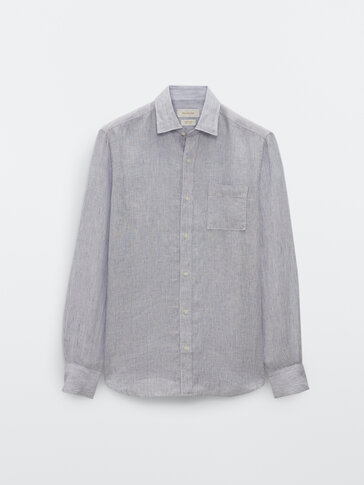 Camisa rayas y bolsillo lino slim fit