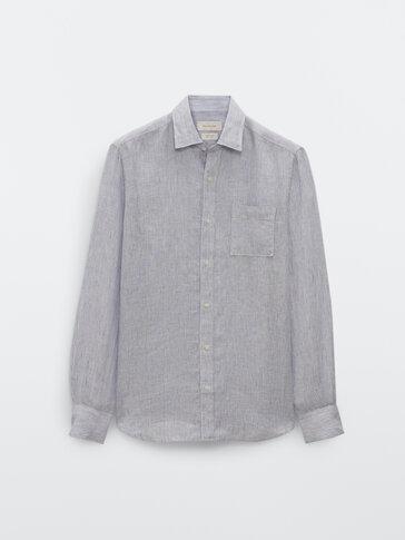 Gestreiftes Slim-Fit-Hemd aus Leinen mit Tasche