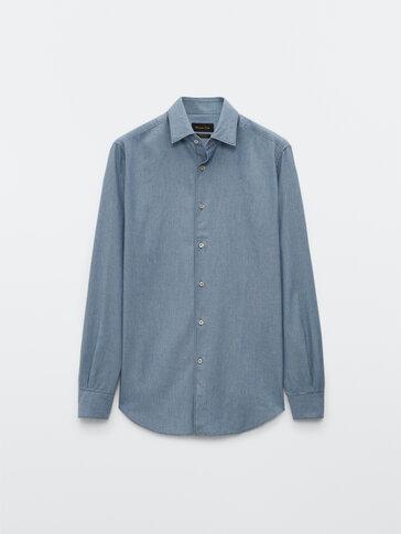Camisa denim 100% algodão slim fit