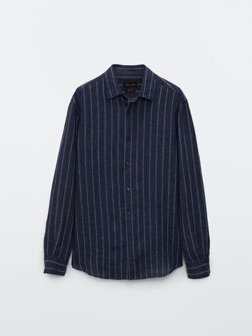 Slim-fit stripete skjorte i lin