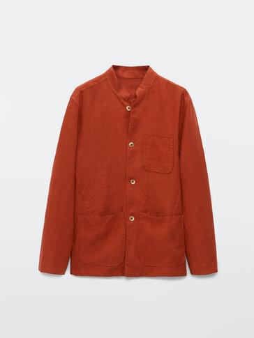 100% linen stand-up collar overshirt