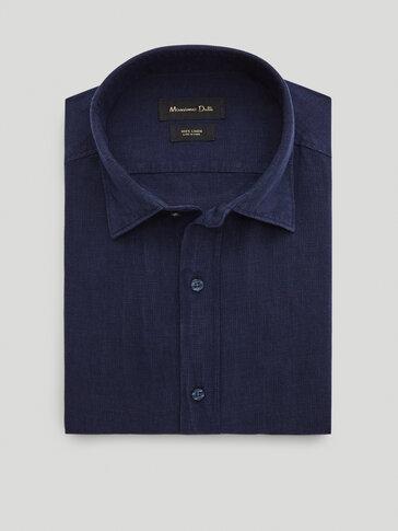 Slim-Fit-Hemd aus reinem Leinen mit Hahnentrittmuster