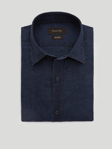 เสื้อเชิ้ตเข้ารูปผ้าเดนิมทำจากผ้าลินิน 100%