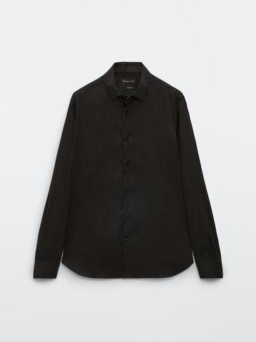 Cotton slim fit ottoman shirt