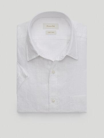 Kurzärmeliges Leinenhemd im Regular-Fit