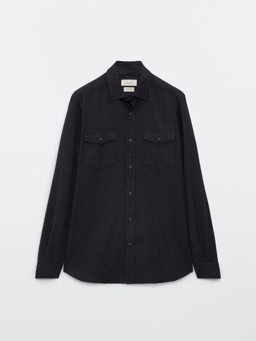 Вталена памучна риза с джобове