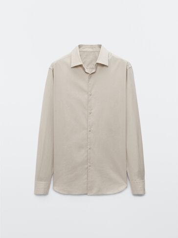 Вталена риза от памучен серж