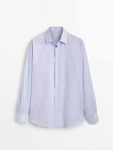 Slim fit cotton twill shirt