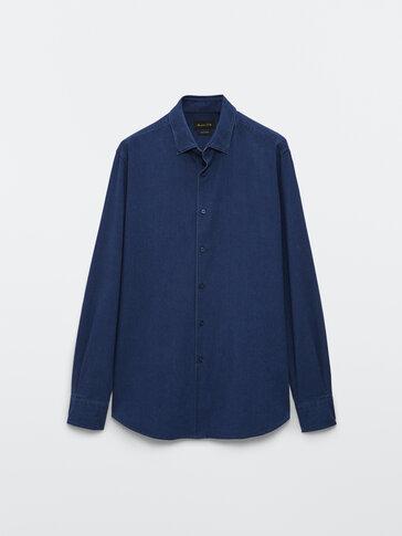 Вталена риза от 100% памучен деним