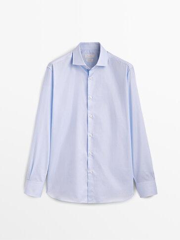 Regular fit check texture cotton shirt