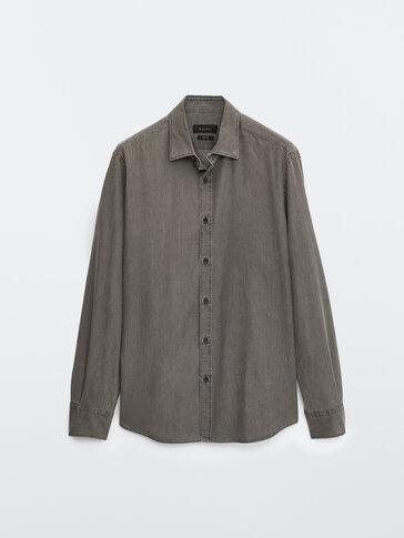 100% cotton denim slim fit shirt