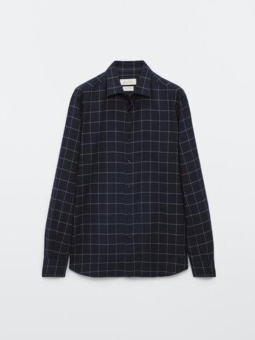 Kariertes Slim-Fit-Hemd aus reiner Baumwolle