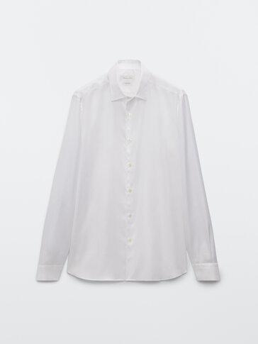 Hemd im Slim-Fit aus reiner Baumwolle mit Fischgrätmuster
