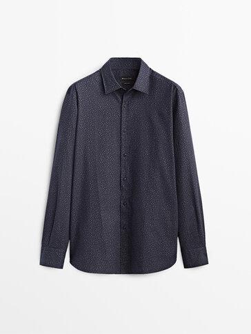 Floral print slim fit 100% cotton shirt