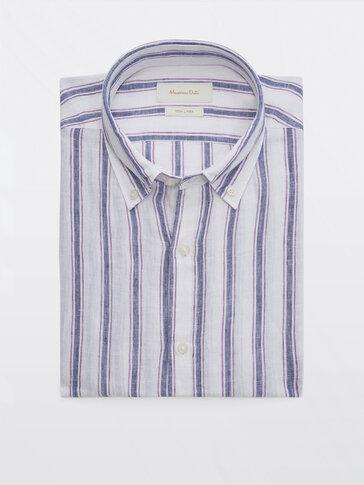 Gestreiftes Slim-Fit-Hemd aus reinem Leinen