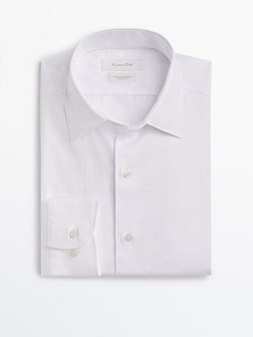 Slim-Fit-Hemd aus Baumwolle mit Strukturmuster