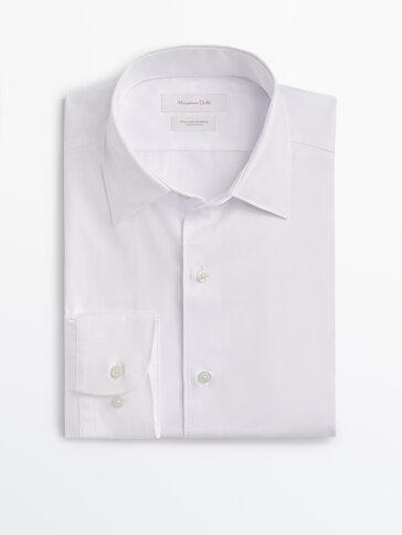 Slim fit textured cotton shirt
