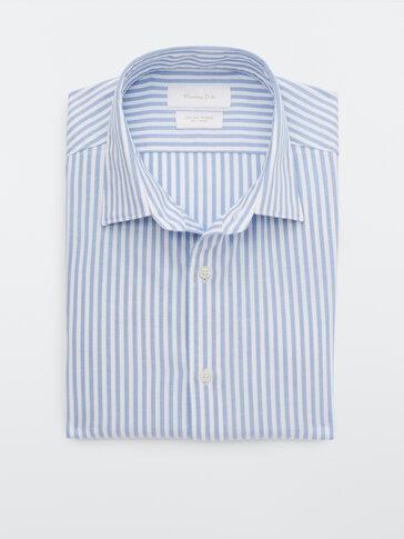 Slim-fit stripete skjorte i bomull