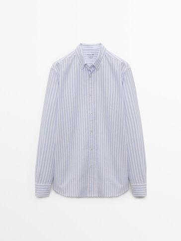 Regular fit cotton striped shirt