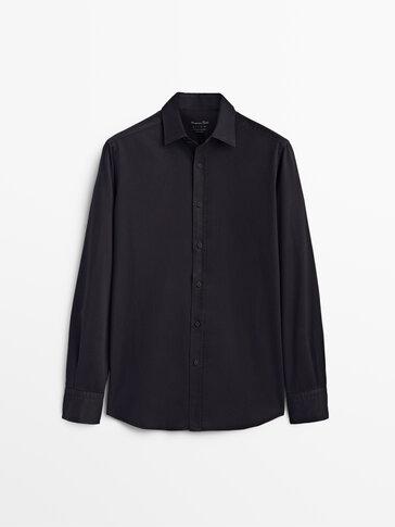 Camisa sarga algodón regular fit