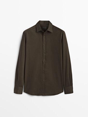 Koszula z bawełny i diagonalu o kroju regular fit