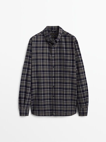 Kariertes Regular-Fit-Hemd aus reiner Baumwolle