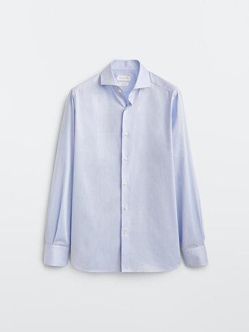 Slim-fit 100% cotton false plain shirt