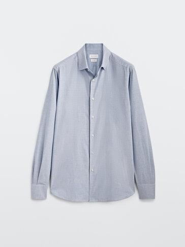 Chemise pied-de-poule en pur coton cintrée