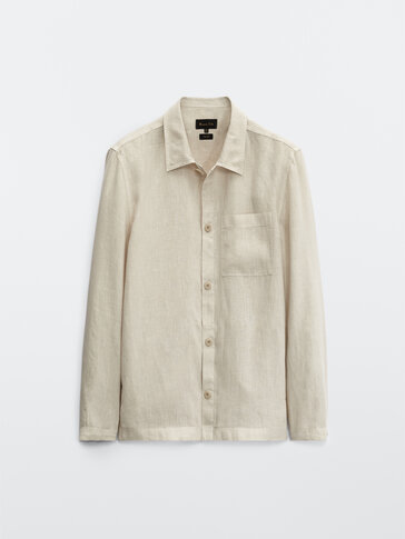 Linen overshirt with side pocket
