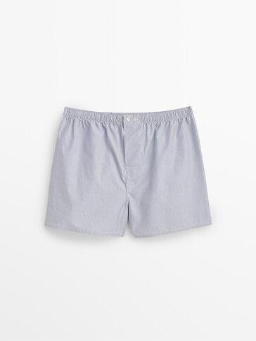 กางเกงบ็อกเซอร์ผ้าป็อปลินลายทาง