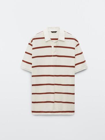 Short sleeve striped cotton polo shirt