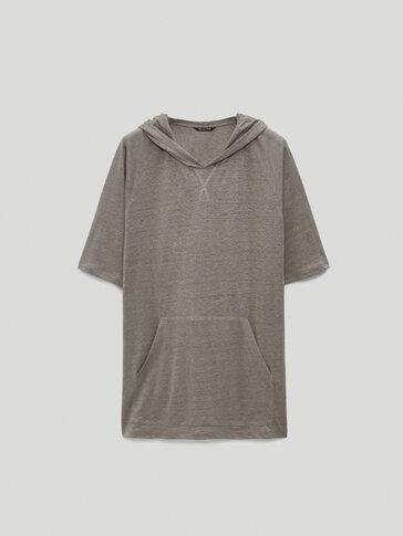 100% linen short sleeve sweatshirt