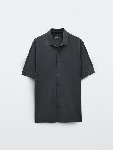 Хлопковая рубашка-боулинг с короткими рукавами