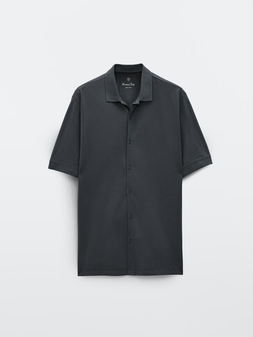 Bowlingskjorte i bomull med korte ermer